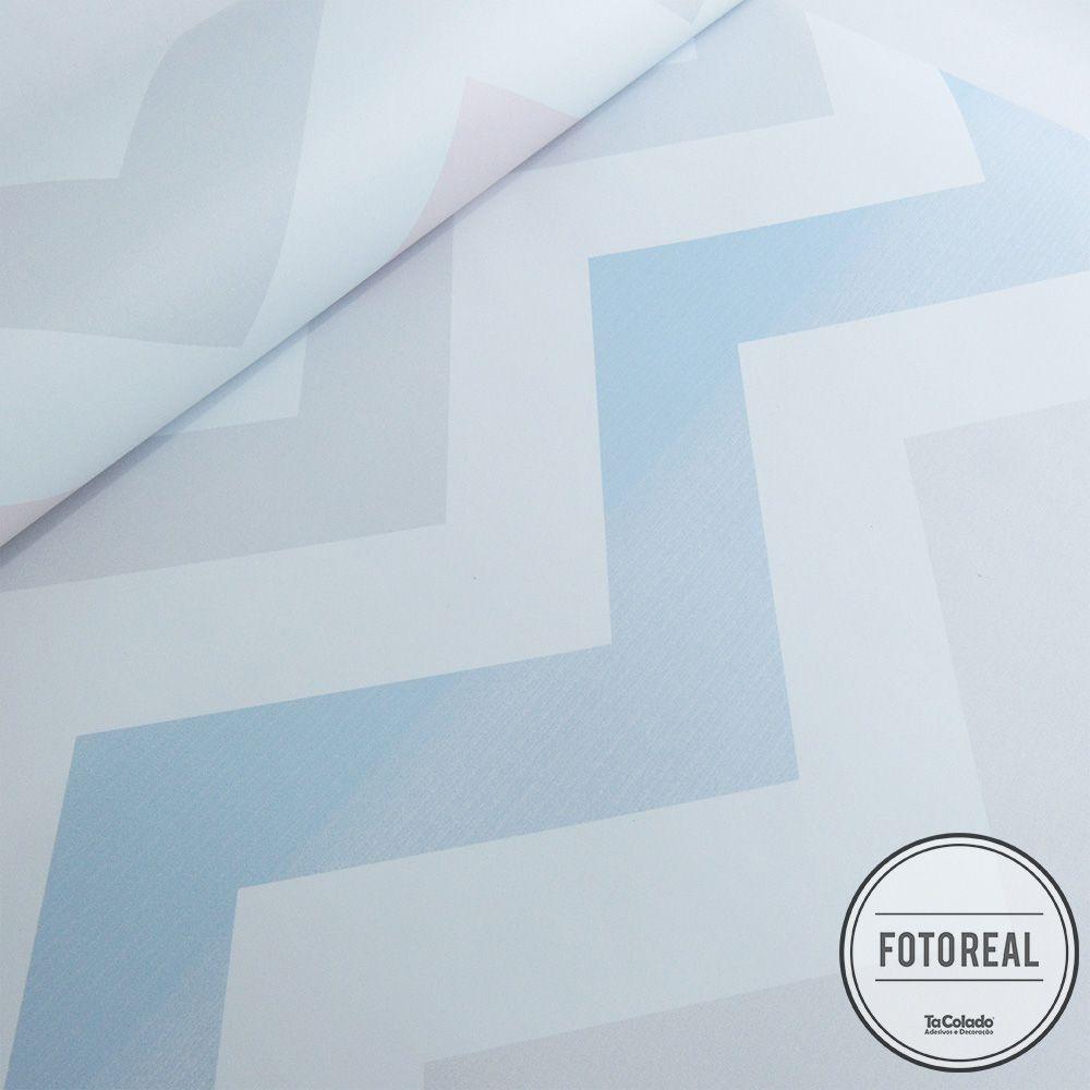 Outlet - Papel de Parede Chevron Tricolor Azul Cinza e Rosa 0,58x3,00m  - TaColado