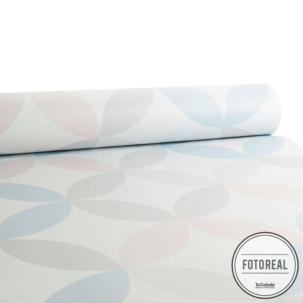 Outlet - Papel de Parede Círculos Clear Rosa e Cinza 0,53x3,00m  - TaColado
