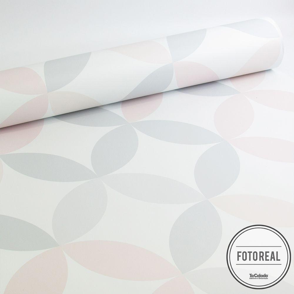 Outlet - Papel de Parede Círculos Clear Rosa e Cinza 0,58x2,40m  - TaColado