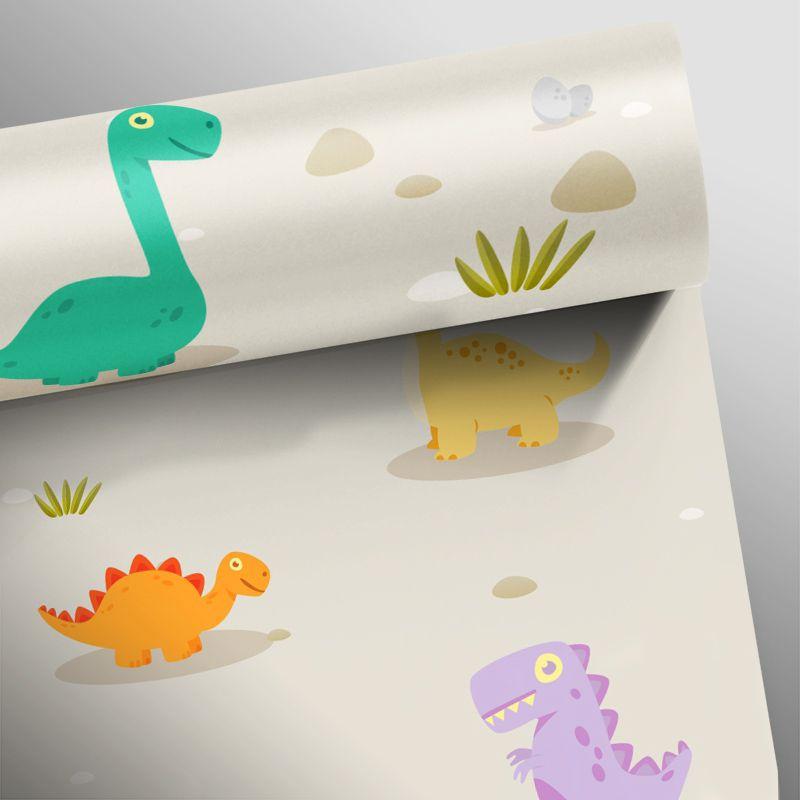 Outlet - Papel de Parede Dinossauros Marrom 0,58 x 3,00m  - TaColado