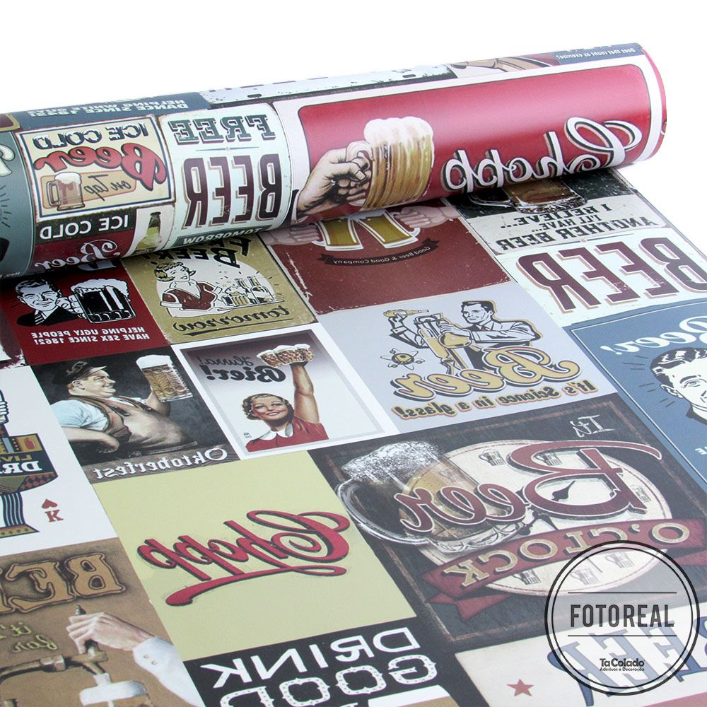 Outlet - Papel de Parede Drink Beer Vintage 0,58x3,00m  - TaColado