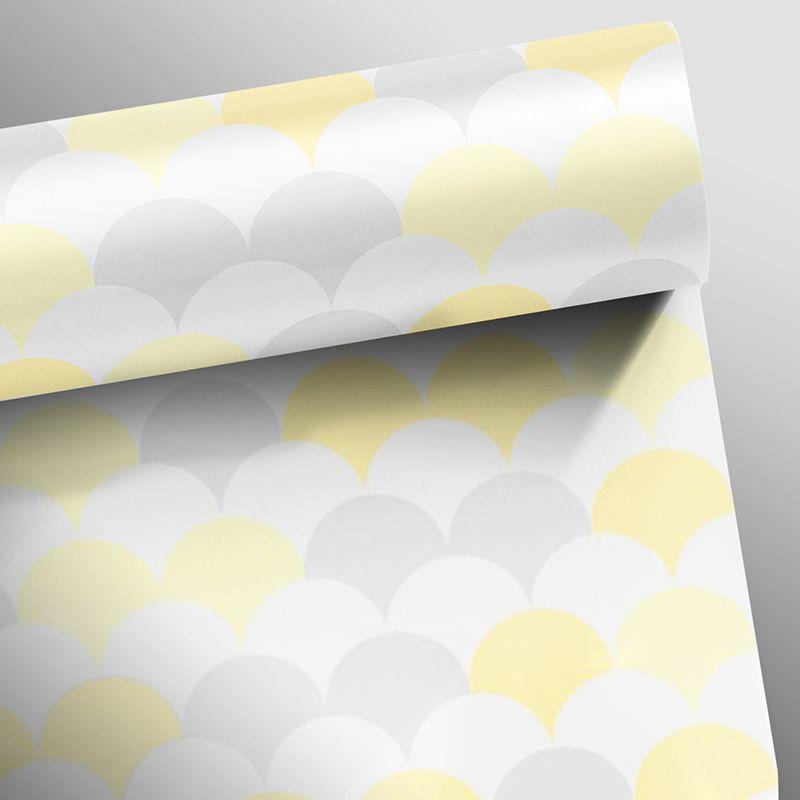 Outlet - Papel de Parede Flake Clear Amarelo e Cinza 0,58x2,60m  - TaColado