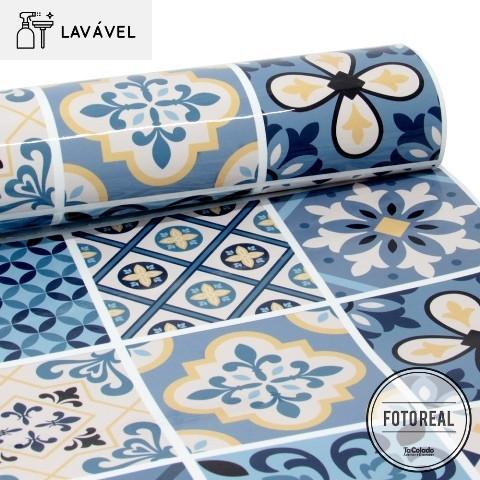 Outlet -Papel de Parede Lavavel para Banheiro Cozinha Revestimento Brilho Azulejo Lusitania 0,35x1,00m  - TaColado