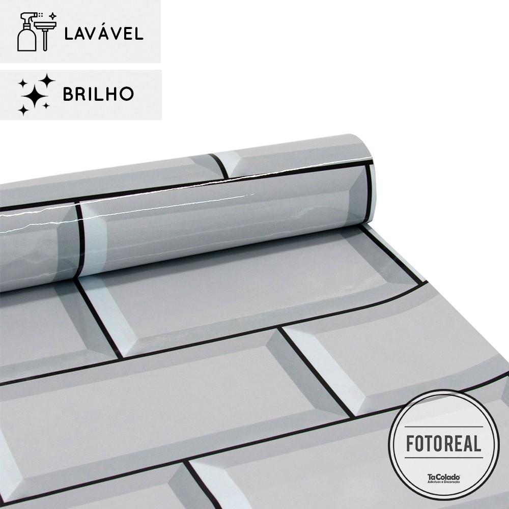 Outlet - Papel de Parede Lavável para Banheiro Revestimento Brilho Metro 0,59x0,59m  - TaColado