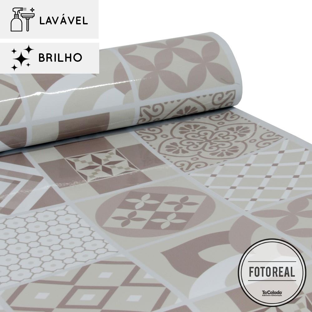 Outlet - Papel de Parede Lavavel para Cozinha Revestimento Azulejo Coimbra 0,58x0,79m  - TaColado