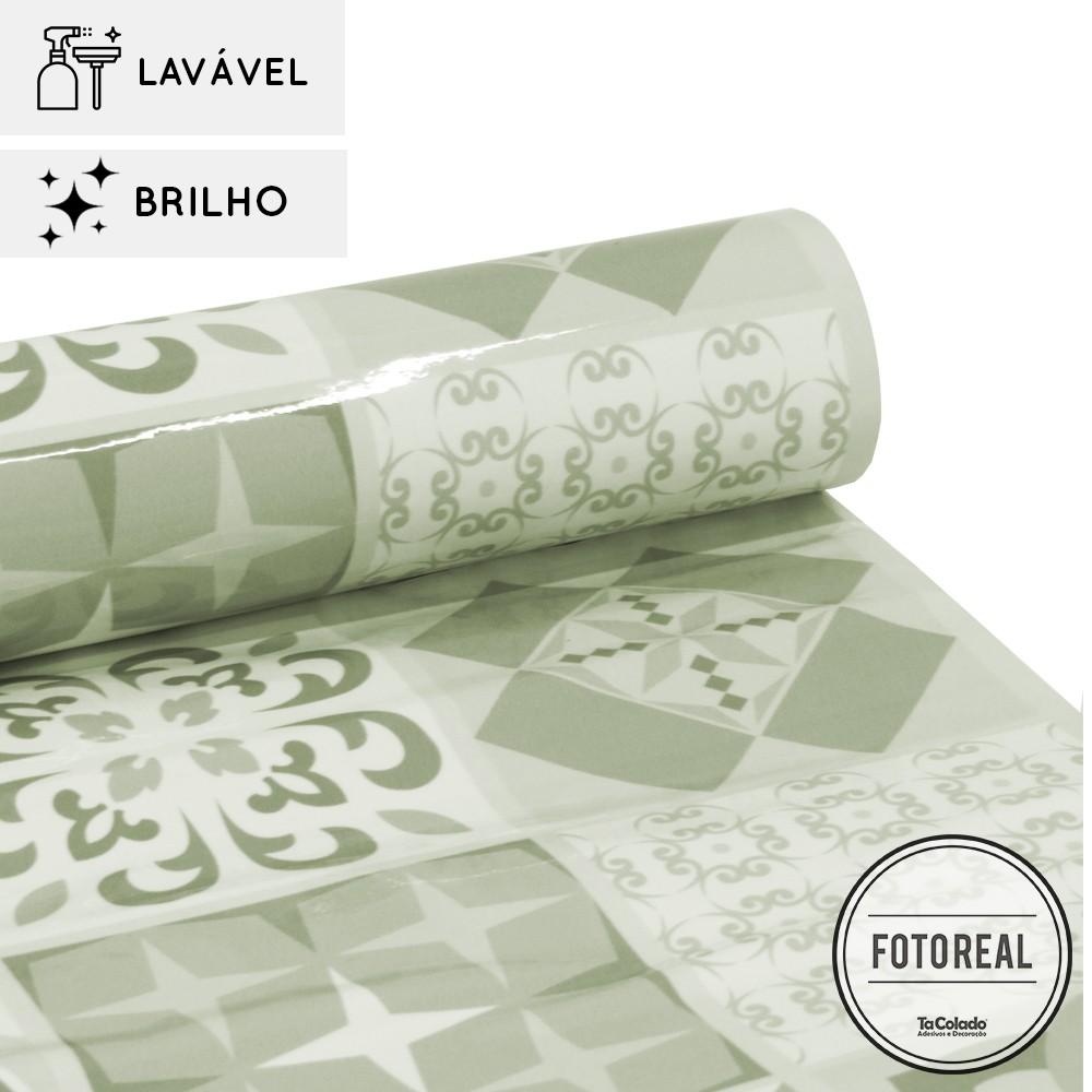 Outlet - Papel de Parede Lavavel para Cozinha Revestimento Azulejo Coimbra  - TaColado
