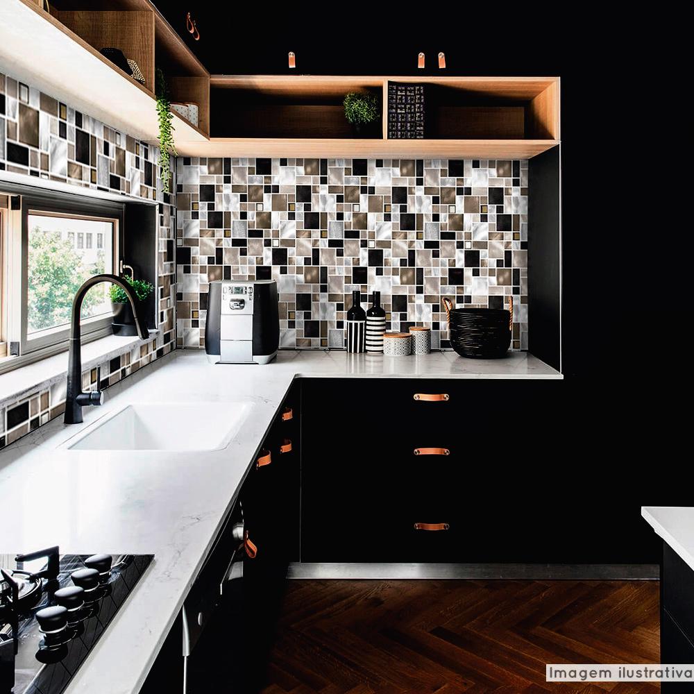 Outlet - Papel de Parede Lavavel para Cozinha Revestimento Fosco Metálico Mosaico Escovado Verde  - TaColado