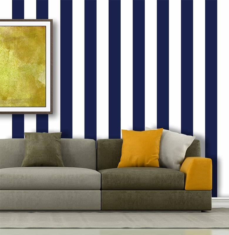 Outlet - Papel de Parede Listras Fortes Classic Azul Marinho 0,58 x 1,70m  - TaColado