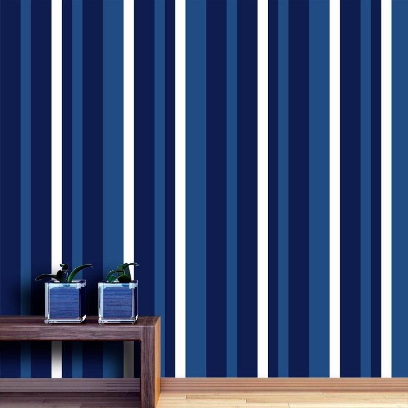 Outlet - Papel de Parede Listras Médias Soft Azul Marinho 0,58x1,90m  - TaColado