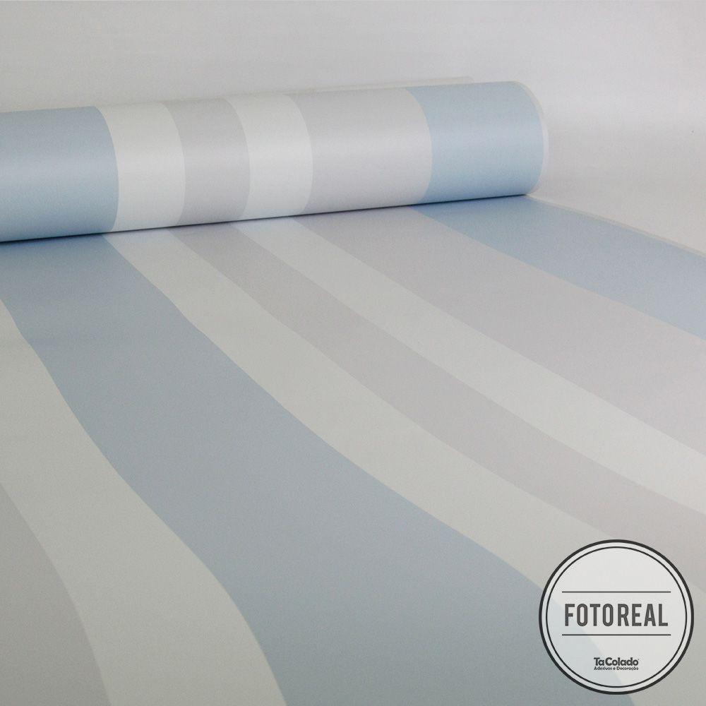 Outlet - Papel de Parede Listras Médias Clear Azul e Cinza 0,58x2,00m  - TaColado
