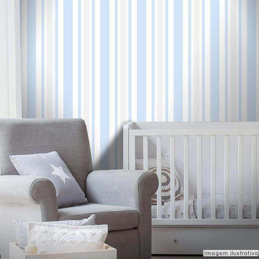 Outlet - Papel de Parede Listras Rápidas Clear Azul e Cinza 0,58x2,70m  - TaColado