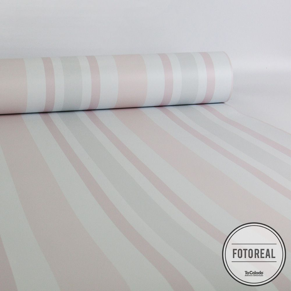 Outlet - Papel de Parede Listras Rápidas Clear Rosa e Cinza 0,58x2,50m  - TaColado