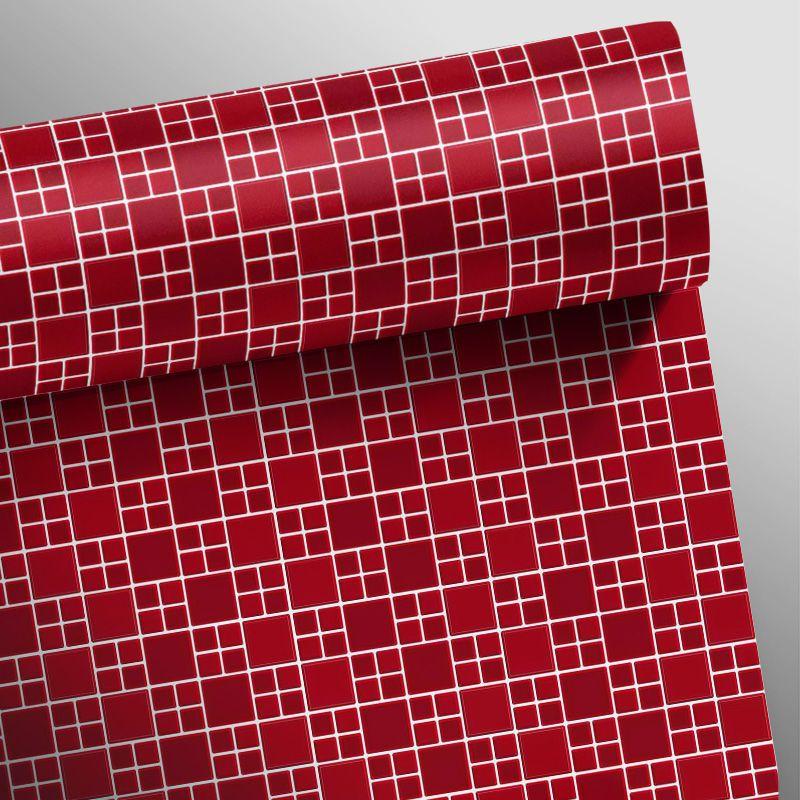 Outlet- Papel de Parede Pastilha 3D BIG Vermelho 0,54x3,00m  - TaColado