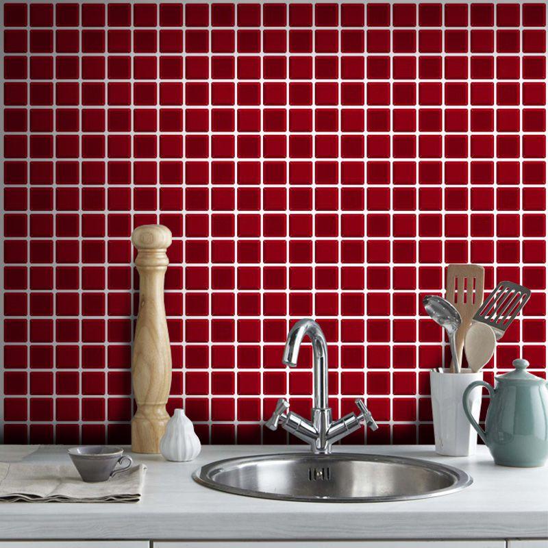 Outlet- Papel de Parede Pastilha para Cozinha 3D vermelho 0,58X2,70m  - TaColado