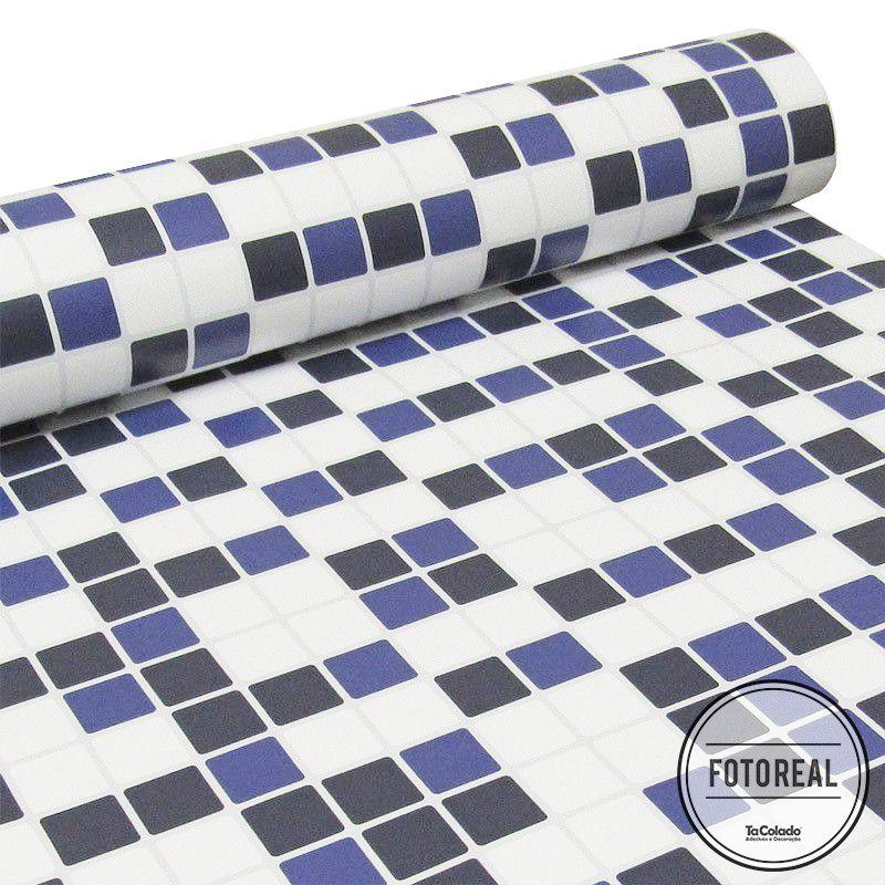 Outlet - Papel de Parede Pastilha Branco e Azul Marinho 0,58 x 2,00m  - TaColado