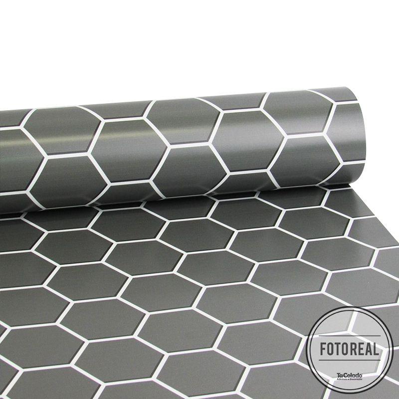 Outlet Papel de Parede Pastilha Colmeia Grafite 0,58x2,70m  - TaColado