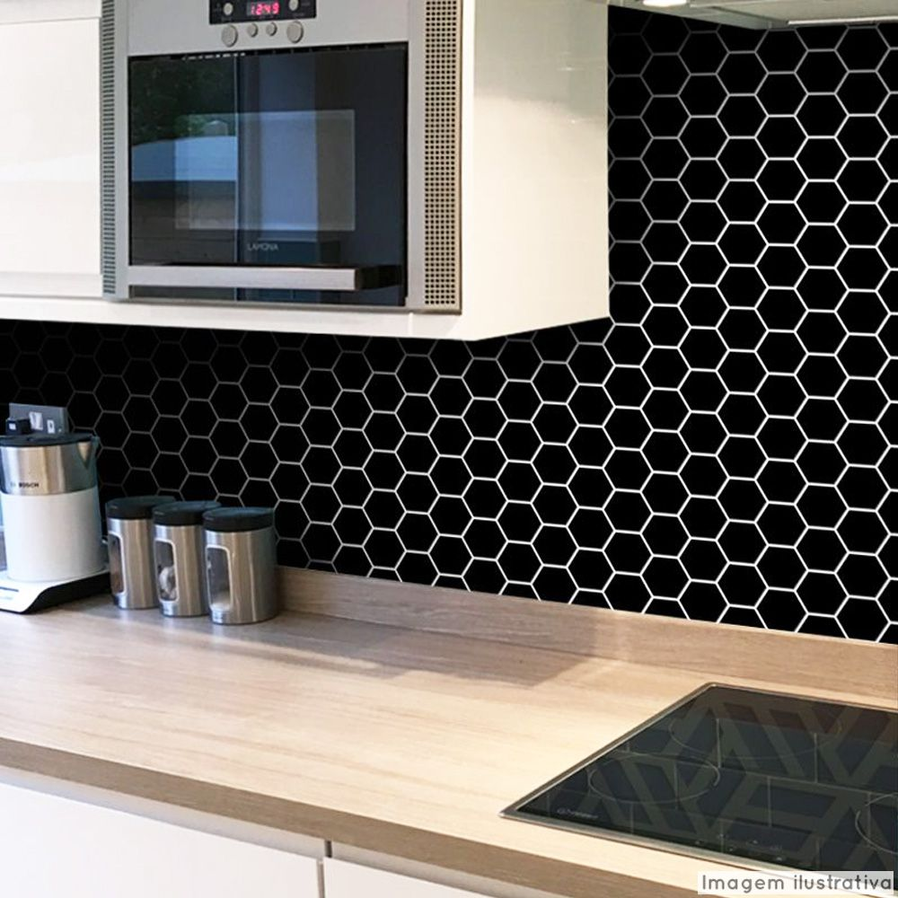 Outlet - Papel de Parede Pastilha para Cozinha Colmeia Preto 0,58x1,40m  - TaColado