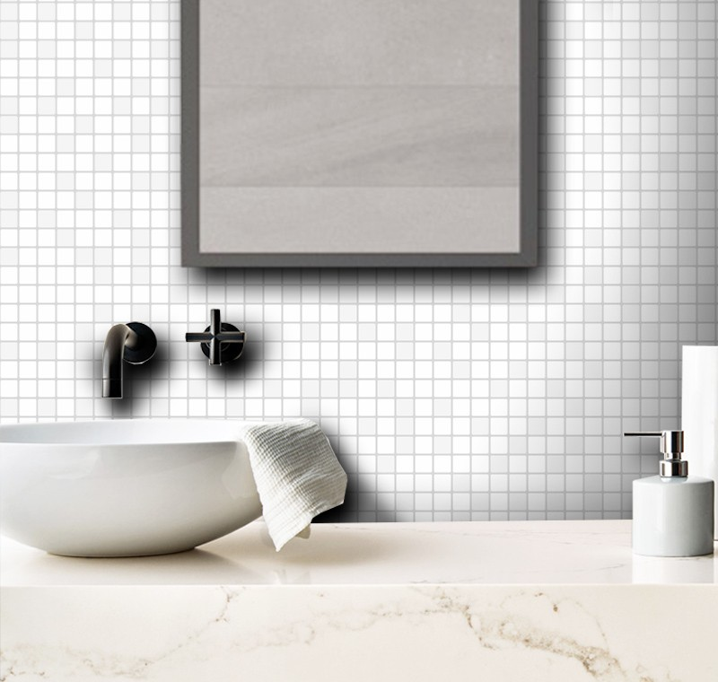 Outlet - Papel de Parede Pastilhas Mix Branco 0,58 x 2,00m  - TaColado