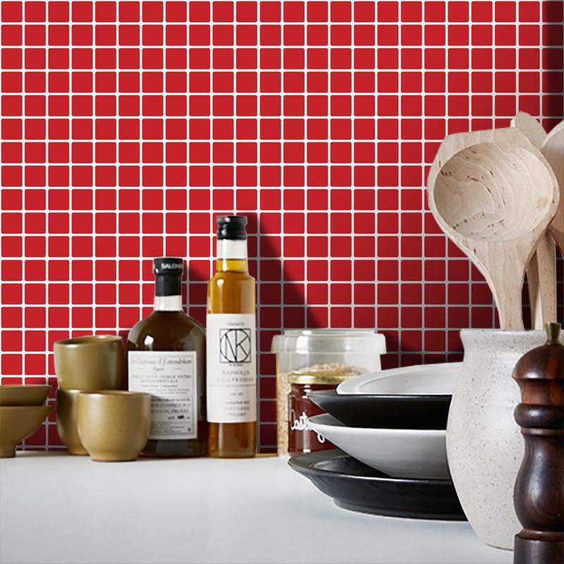 Outlet - Papel de Parede Pastilhas para Cozinha Vermelho 0,56x3,00m  - TaColado