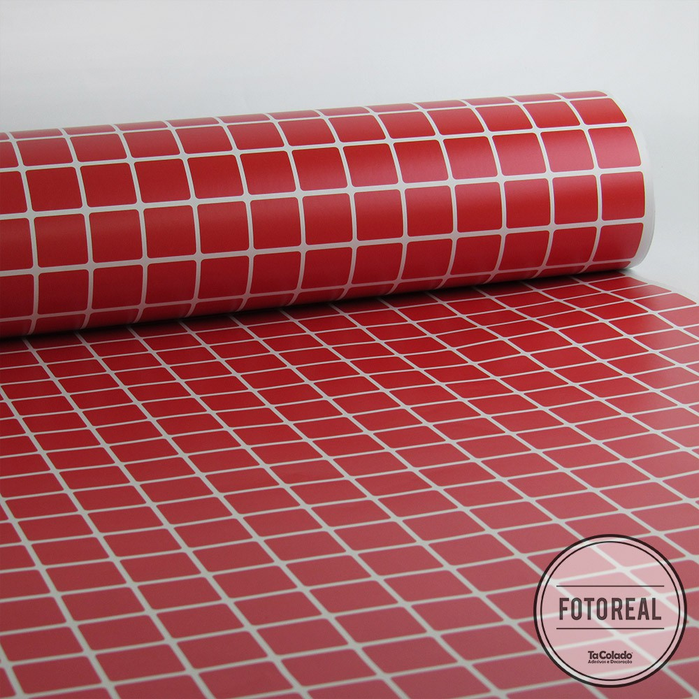 Outlet- Papel de Parede Pastilhas Vermelho 0,58 X 2,00M  - TaColado