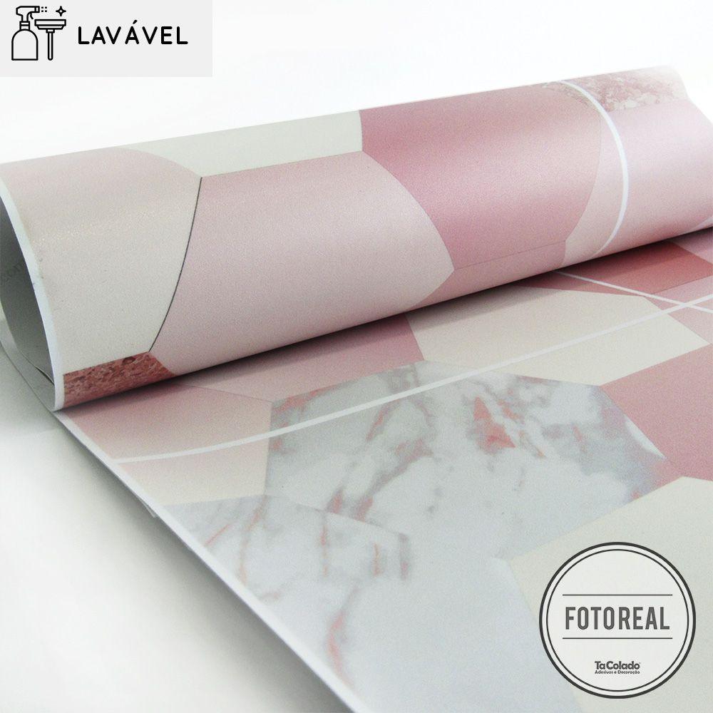 Outlet - Papel de Parede Revestimento Azulejo Lavável Mármore Sakura 0,58x0,80m  - TaColado