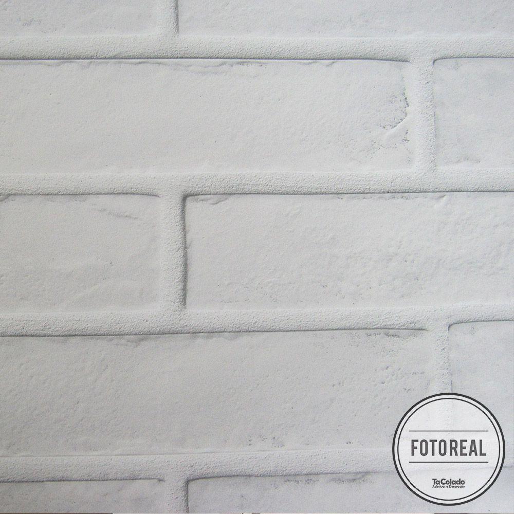 Outlet - Papel de Parede Tijolo Frisado Branco 0,58 x 2,70m  - TaColado