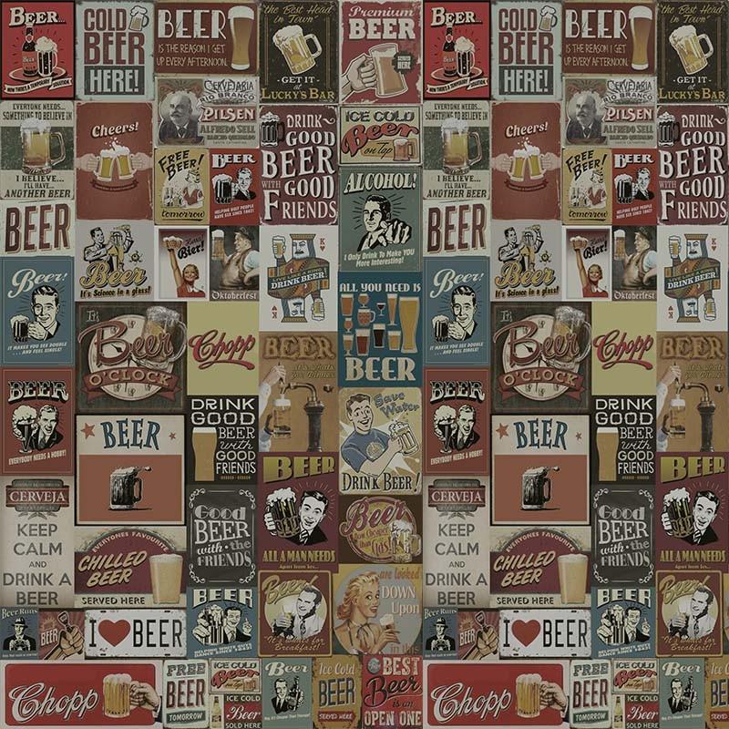 Outlet - Papel de Parede Drink Beer Vintage 0,58x2,80m  - TaColado