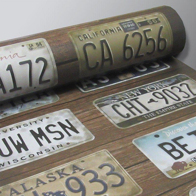 Outlet - Papel de Parede Vintage Placa Automotiva 0,58x2,70m  - TaColado