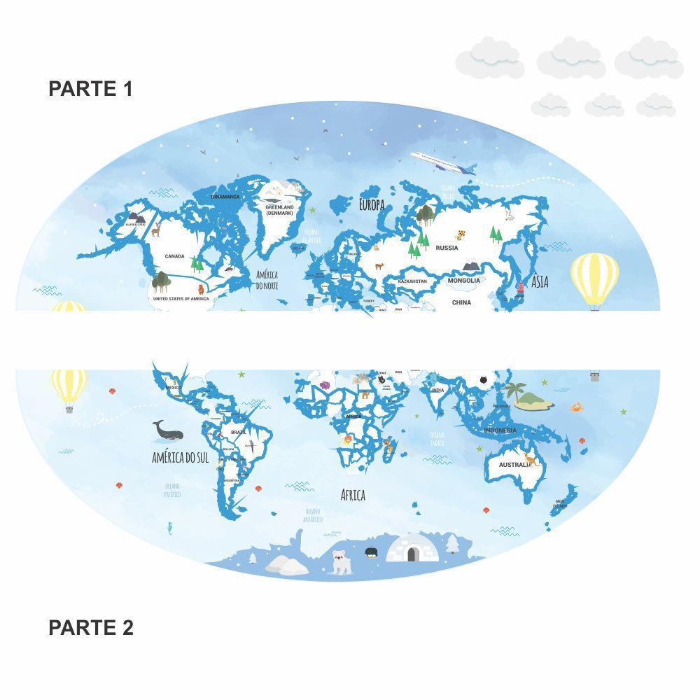 Queima de Estoque - Painel Adesivo Mapa Mundi Infantil  - TaColado