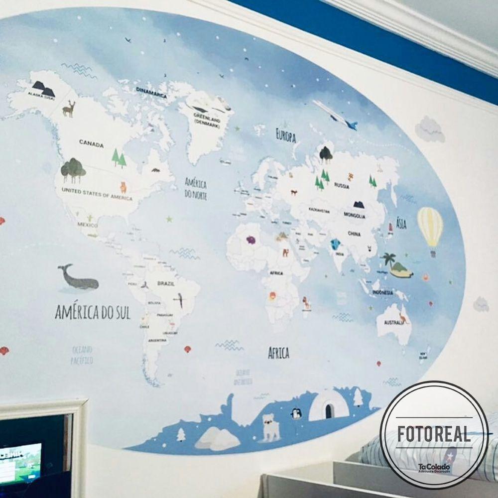 Painel Adesivo Mapa Mundi Infantil  - TaColado