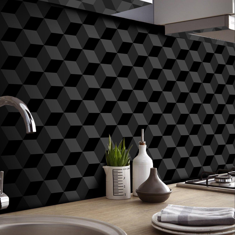 Black November - Papel de Parede 3D Cubo Classic Preto  - TaColado