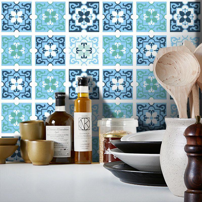 Outlet - Papel de Parede Azulejo para Cozinha Berga Azul 0,58 x 2,00m  - TaColado