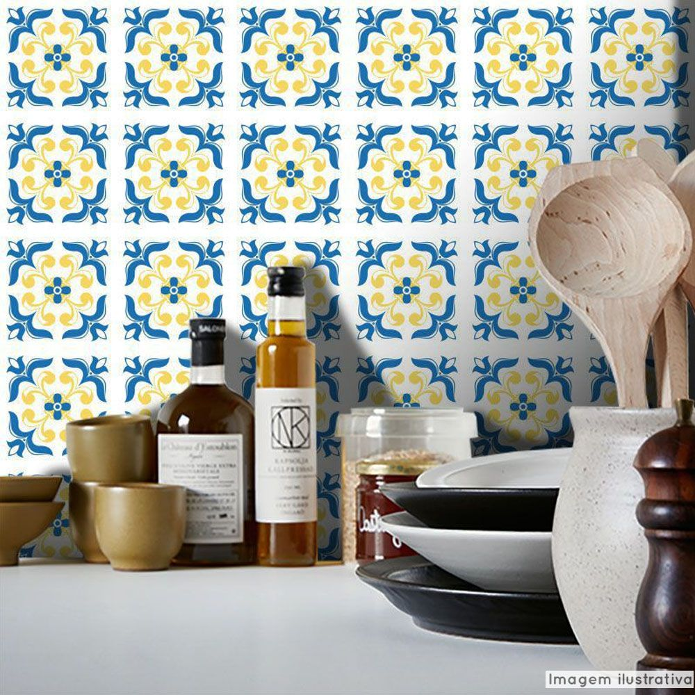 Papel de Parede Azulejo para Cozinha Braga - Várias Cores  - TaColado