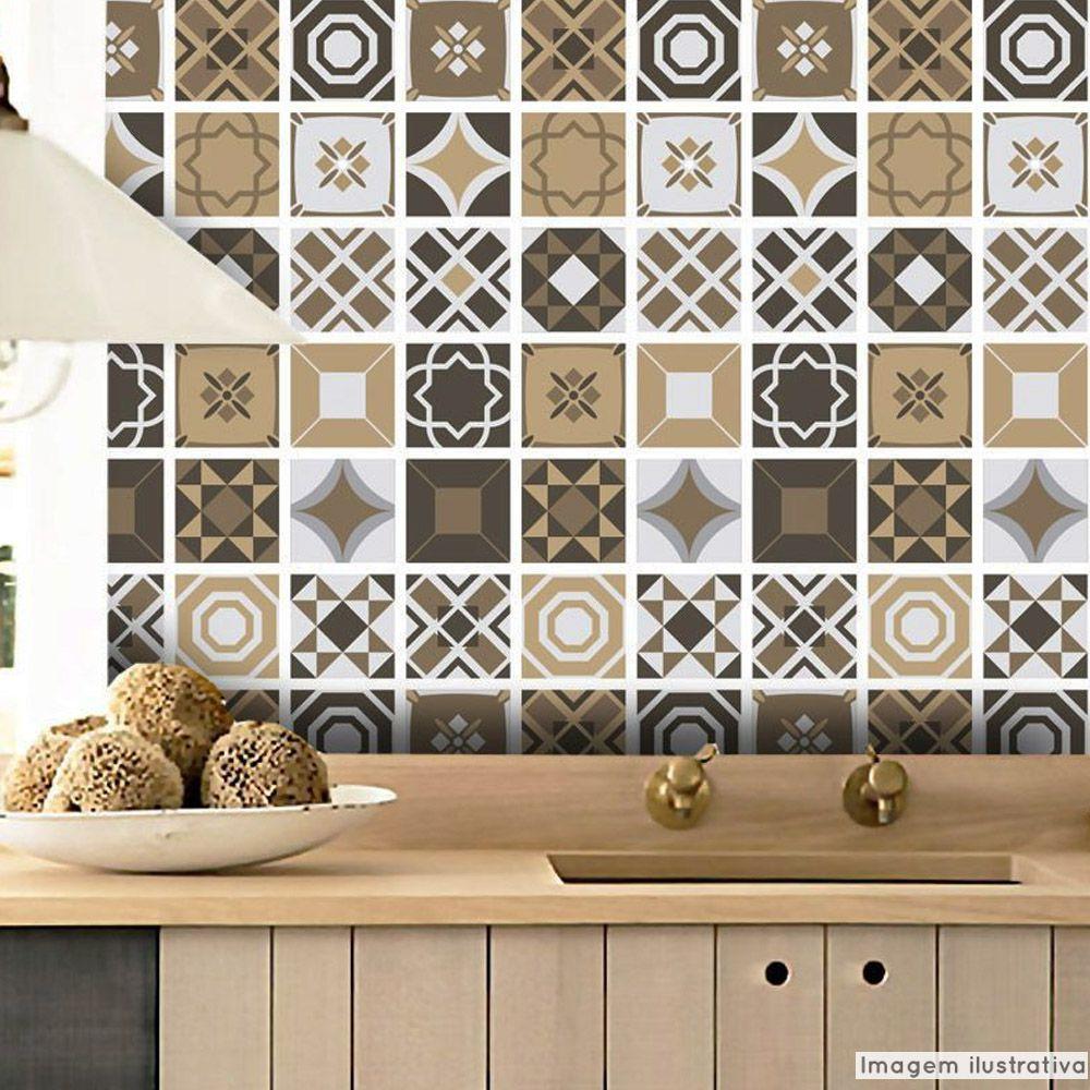 Papel de Parede Azulejo para Cozinha Bragança - Várias Cores  - TaColado