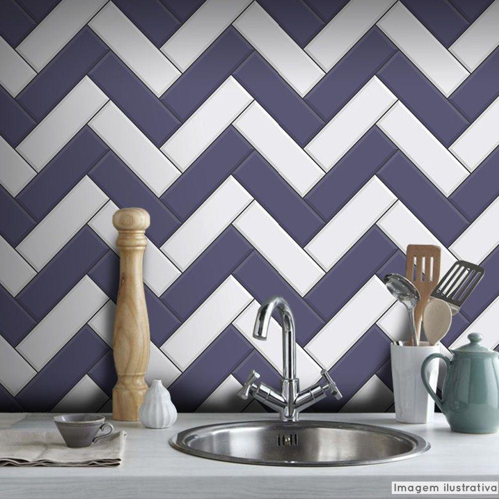 Papel de Parede Azulejo para Cozinha Chevron - Várias Cores  - TaColado