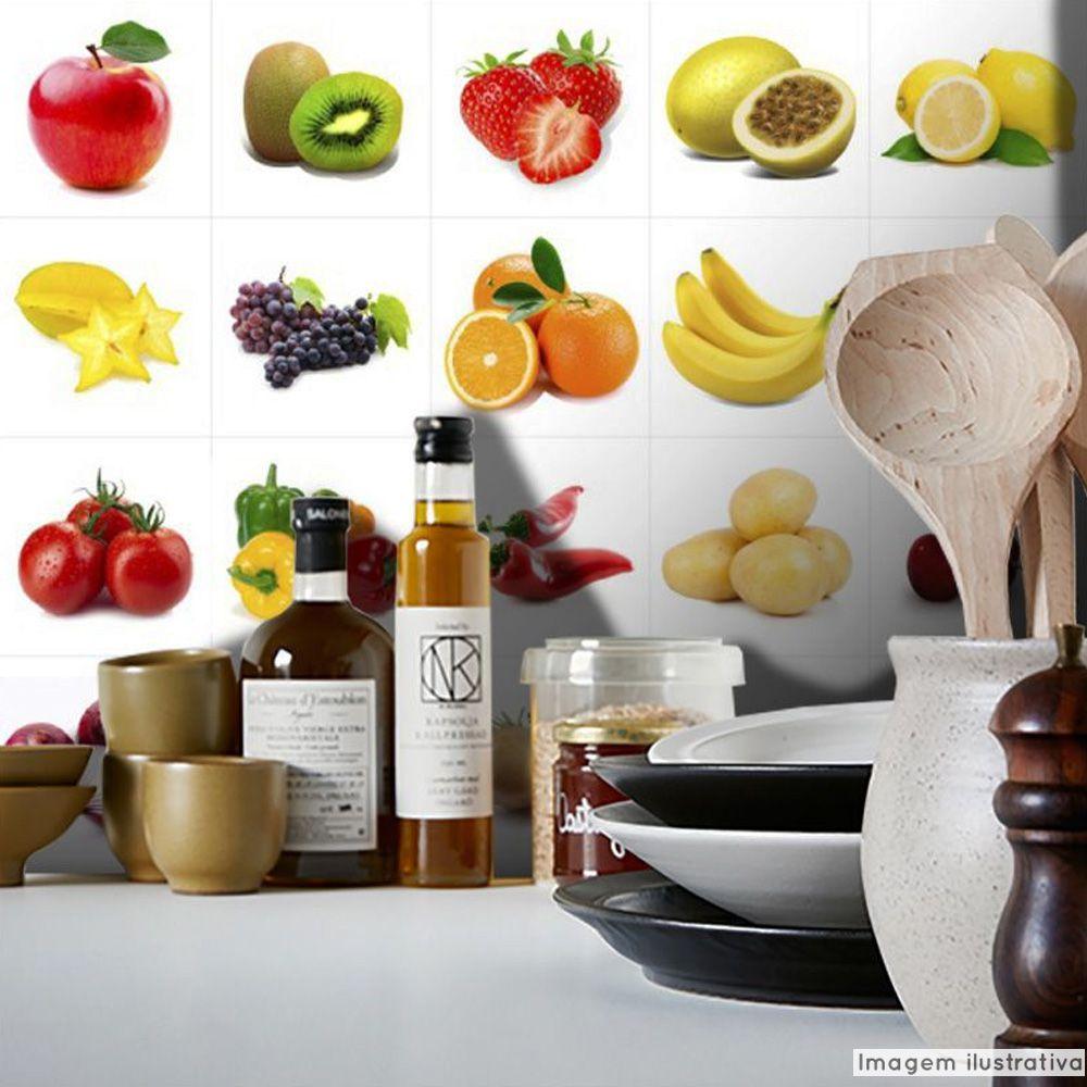 Papel de Parede Azulejo para Cozinha Frutas e Verduras  - TaColado