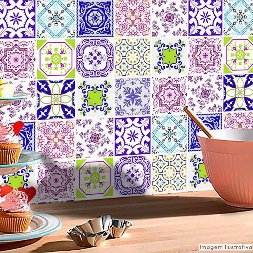 Papel de Parede Azulejo para Cozinha Lisboa  - TaColado