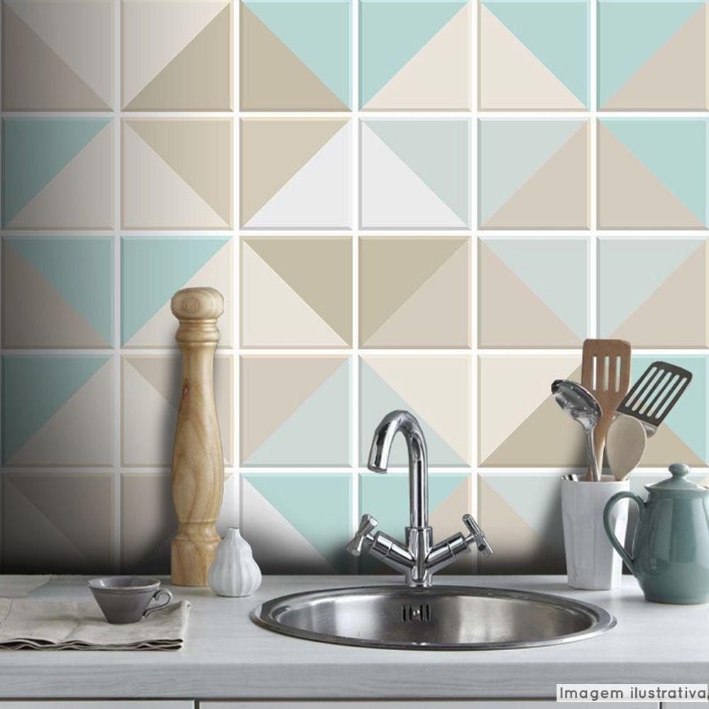 Papel de Parede Azulejo para Cozinha Triângulo - Várias Cores  - TaColado