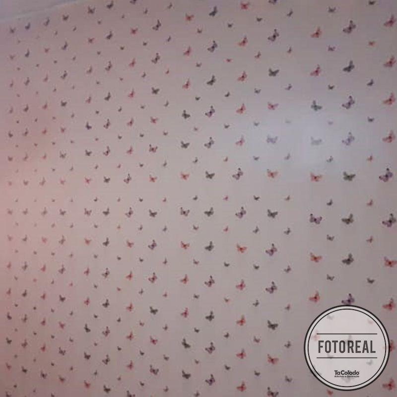 Queima de Estoque - Papel de Parede Infantil Borboletas Rosa  - TaColado
