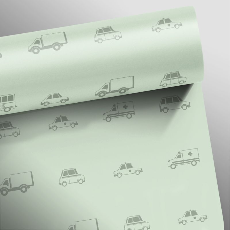 Outlet - Papel de Parede Carros Verde Claro 0,58 x 2,30m  - TaColado