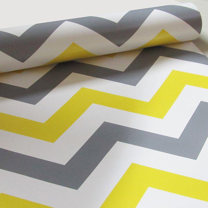 Queima de Estoque - Papel de Parede Chevron Color Amarelo Cinza  - TaColado