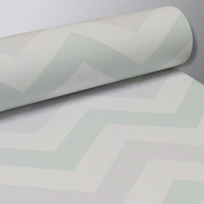 Outlet - Papel de Parede Chevron Clear Verde e Cinza 0,58 x 2,10m  - TaColado