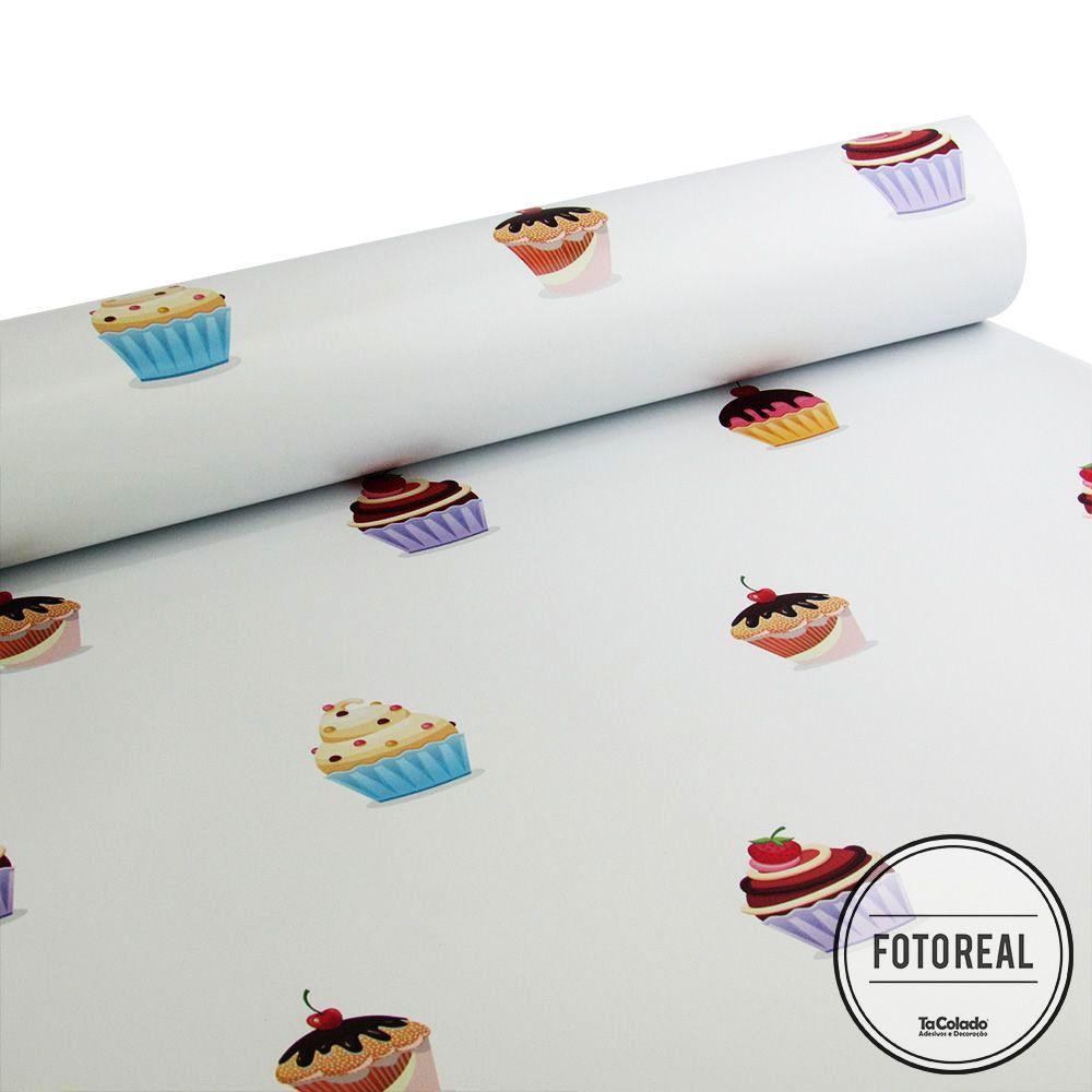 Papel de Parede Cupcakes - Várias Cores  - TaColado