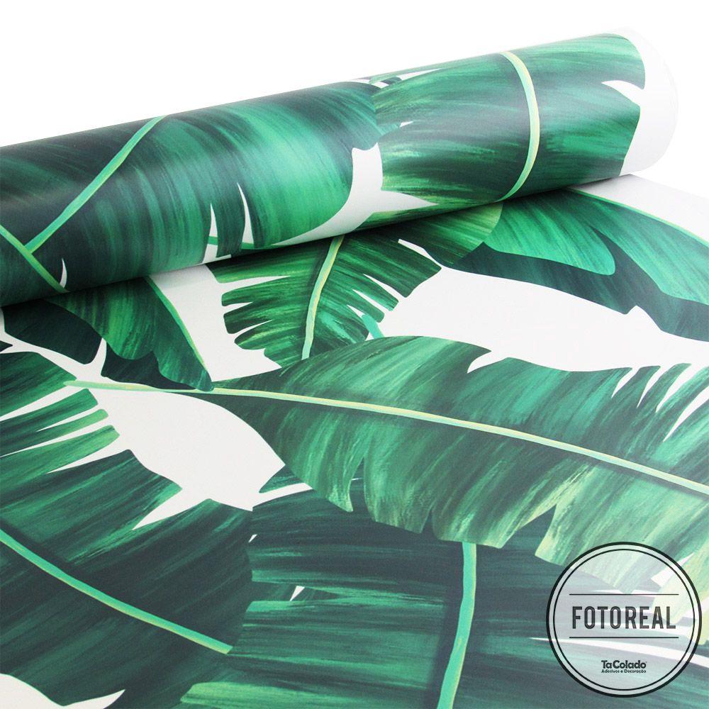Papel de Parede Floral Folhas de Bananeira  - TaColado