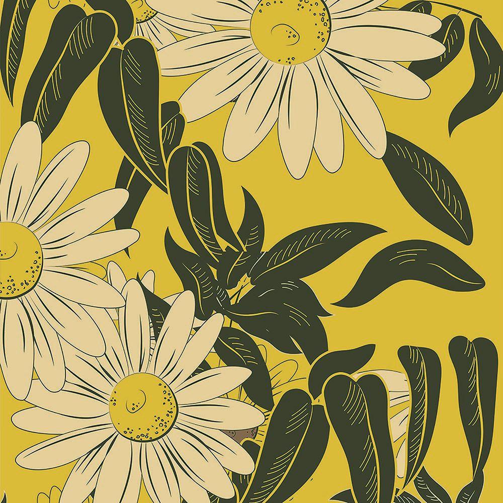 Papel de Parede Floral Girassol Amarelo  - TaColado