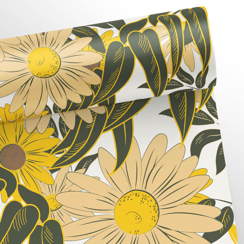 Papel de Parede Floral Girassol Branco  - TaColado