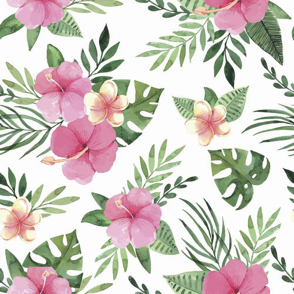 Papel de Parede Floral Hibisco  - TaColado