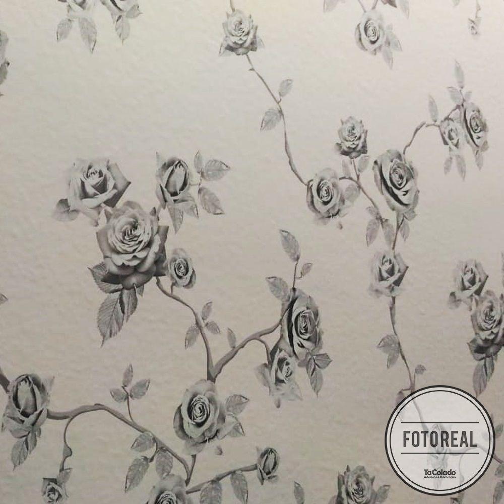 Papel de Parede Floral Rosas Clássicas  - TaColado