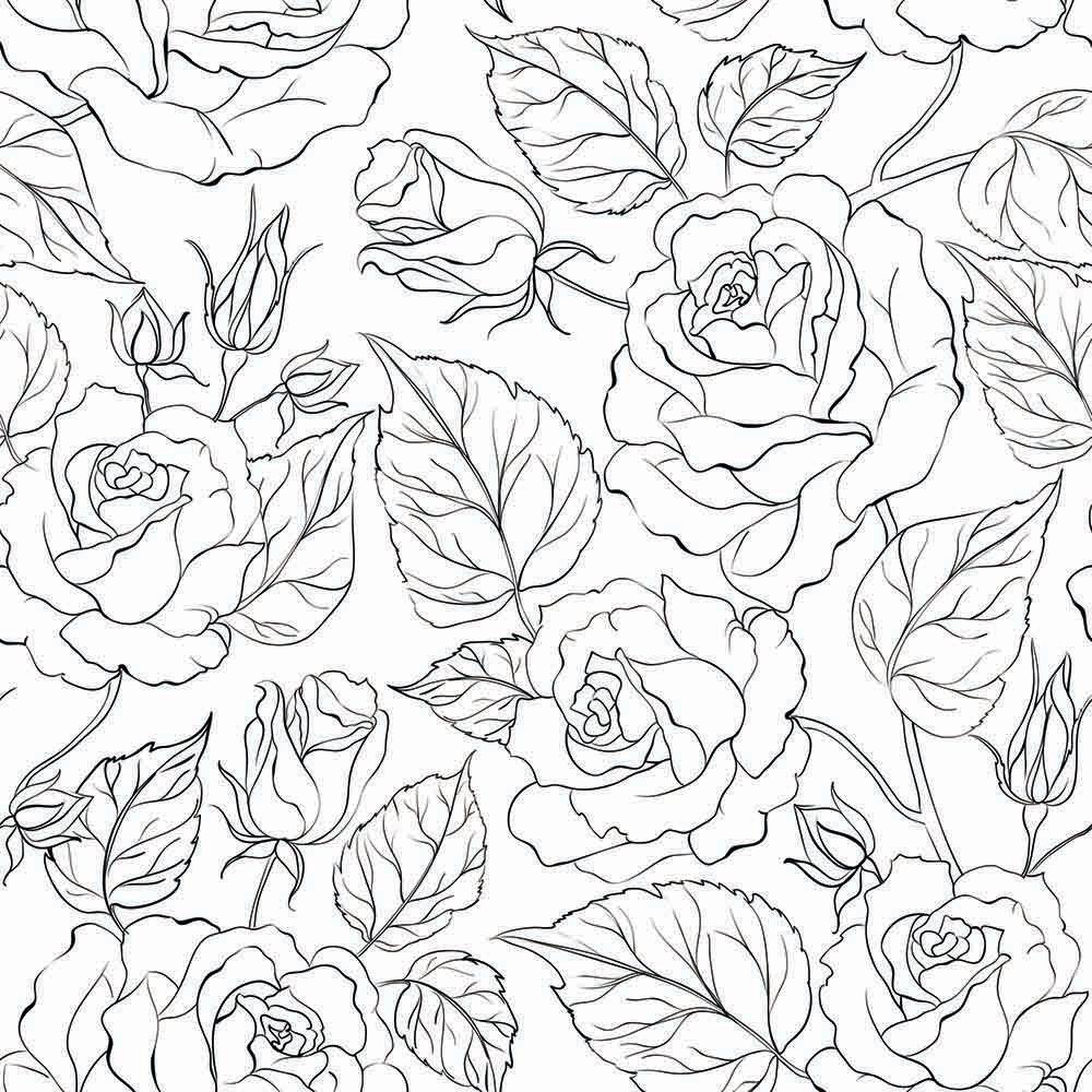 Papel de Parede Floral Rosas Modern Preto  - TaColado