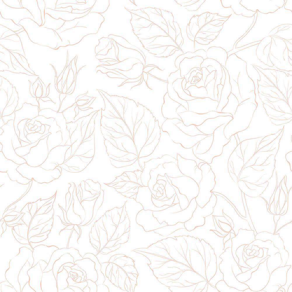 Papel de Parede Floral Rosas Modern Rosa  - TaColado